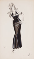 Pin-up and Glamour Art, AMERICAN ARTIST (20th Century). Glamour Girl in Black Dress,Frederick's of Hollywood fashion illustration. Pencil and g...