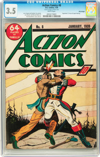 Action Comics #8 Billy Wright pedigree (DC, 1939) CGC VG- 3.5 White pages
