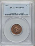 Proof Indian Cents: , 1867 1C PR64 Red and Brown PCGS. PCGS Population (87/36). NGCCensus: (114/92). Mintage: 625. Numismedia Wsl. Price for pro...