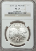 Modern Issues, 2011-S $1 U.S. Army MS69 NGC. NGC Census: (0/0). PCGS Population(0/0). (#506163)...