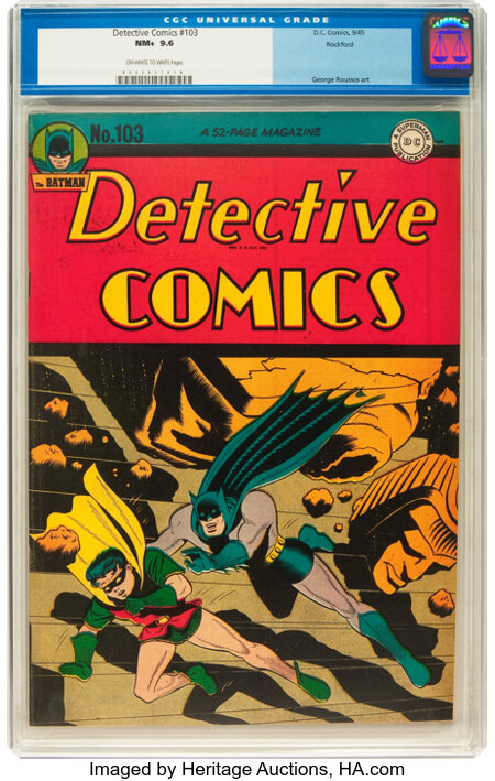 Detective Comics #103 Rockford pedigree (DC, 1945) CGC NM+ 9.6 Off-white to white pages....