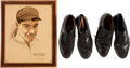 Baseball Collectibles:Others, Joe DiMaggio Personal Plaque and Dress Shoes (2 Pair)....