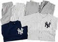 Autographs:Baseballs, 1990's-2000's New York Yankees Game Worn Jerseys (2) and Pants (4)....