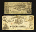 Confederate Notes:1861 Issues, CT8/15A Counterfeit $50 1861. CT44/339 Counterfeit $1 1862.. ... (Total: 2 notes)