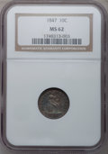Seated Dimes, 1847 10C MS62 NGC. Fortin-102....
