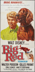 "Movie Posters:Adventure, Big Red (Buena Vista, 1962). Three Sheet (41"" X 84""). Adventure....."