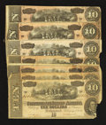 Confederate Notes:1864 Issues, T68 $10 1864. Seven Examples.. ... (Total: 7 notes)