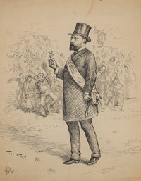 THOMAS NAST (American, 1840-1902) Mayor with Angry Mob Pen and ink on paper 10.5 x 8 in. Signe