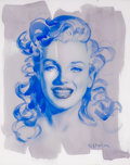 "Pin-up and Glamour Art, OLIVIA DE BERARDINIS (American, b. 1948). ""Kinda' Blue"", MarilynMonroe, 2010. Watercolor on paper. 14.25 x 11.25 in.. S..."