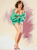 Pin-up and Glamour Art, EARL MORAN (American, 1893-1984). Pin-Up in a Green Sweater.Pastel on board. 26.5 x 20 in.. Signed lower right. Fro...