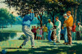 Mainstream Illustration, ARTHUR SARON SARNOFF (American, 1912-2000). A GolfTournament. Oil on canvas. 24 x 36 in.. Signed lower right.From ...