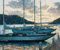 Mainstream Illustration, ARTHUR SARON SARNOFF (American, 1912-2000). Sailboats atDock. Oil on board. 20 x 24 in.. Signed lower left. Fromth...