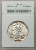 1939-D 50C MS65 ANACS. NGC Census: (1095/639). PCGS Population (1905/739). Mintage: 4,267,800. Numismedia Wsl. Price for...