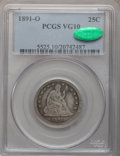 Seated Quarters: , 1891-O 25C VG10 PCGS. CAC. PCGS Population (8/57). NGC Census:(0/26). Mintage: 68,000. Numismedia Wsl. Price for problem f...
