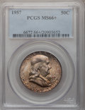 Franklin Half Dollars: , 1957 50C MS66+ PCGS. PCGS Population (734/11). NGC Census:(487/25). Mintage: 5,100,000. Numismedia Wsl. Price for problem ...