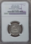 Seated Quarters, 1872-CC 25C -- Damaged, Cleaned -- NGC Details. Fine....