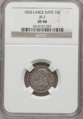Bust Dimes: , 1828 10C Large Date XF40 NGC. JR-2. NGC Census: (2/18). PCGSPopulation (2/17). Mintage: 125,000. Numismedia Wsl. Price fo...