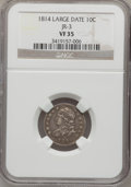 Bust Dimes: , 1814 10C Large Date VF35 NGC. JR-3. NGC Census: (3/141). PCGSPopulation (8/116). Mintage: 421,500. Numismedia Wsl. Price ...