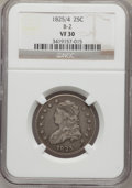 Bust Quarters, 1825/4 25C VF30 NGC. B-2. NGC Census: (5/83). PCGS Population(10/188). Numismedia Wsl. Price for problem free NGC/PCGS c...