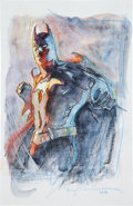 Original Comic Art:Sketches, Bill Sienkiewicz Batman Ink and Watercolor Commissioned Illustration Original Art (2011)....