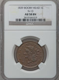 Large Cents: , 1839 1C Booby Head AU58 NGC. N-13. NGC Census: (11/96). PCGSPopulation (20/64). Mintage: 3,128,661. Numismedia Wsl. Price...
