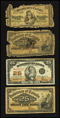 Canadian Currency: , DC-1b 25¢ 1870. DC-15c 25¢ 1900 Two Examples. DC-24a 25¢ 1923. ...(Total: 4 notes)