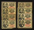 Fractional Currency:Fifth Issue, An Assortment of Eight 25¢ Fifth Issue Notes Very Good or Better..... (Total: 8 notes)