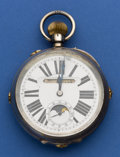 Timepieces:Pocket (pre 1900) , Swiss 66 mm Silver Moon Phase Calendar For Restoration. ...
