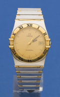 Timepieces:Wristwatch, Omega Steel & Gold Constellation. ...