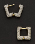 Estate Jewelry:Earrings, Outstanding White & Canary Yellow Diamond Gold Earrings. ...