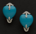Estate Jewelry:Earrings, Spectacular Turquoise & Diamond Heart Earrings. ...