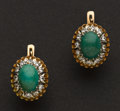 Estate Jewelry:Earrings, Early Jade & Diamond Gold Earrings. ...
