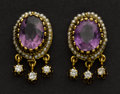 Estate Jewelry:Earrings, Early Amethyst & Pearl Gold Earrings. ...