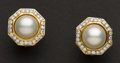 Estate Jewelry:Earrings, Exquisite Mabe Pearl & Diamond Gold Earrings. ...