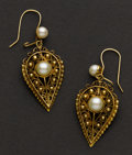 Estate Jewelry:Earrings, Vintage Pearl & Gold Earrings. ...