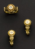 Estate Jewelry:Suites, Terrific Diamond & Gold Earrings & Ring. ... (Total: 2Items)
