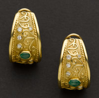 Exceptional Emerald & Diamond 18k Gold Earrings
