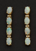 Estate Jewelry:Earrings, Fine Opal & Diamond Gold Earrings. ...