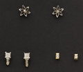 Estate Jewelry:Earrings, Three Pair Of Diamond & Gold Stud Earrings. ... (Total: 3Items)