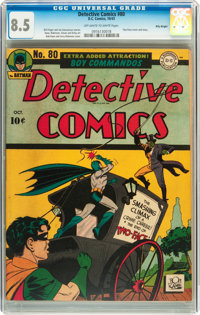 Detective Comics #80 Billy Wright pedigree (DC, 1943) CGC VF+ 8.5 Off-white to white pages