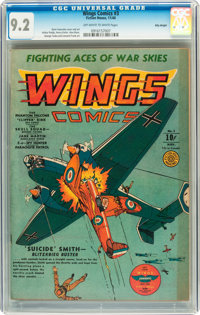 Wings Comics #3 Billy Wright pedigree (Fiction House, 1940) CGC NM- 9.2 Off-white to white pages