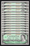 Canadian Currency: , BC-45b $1 1967 13 Consecutive Examples. ... (Total: 13 notes)