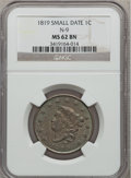 Large Cents, 1819 1C Small Date MS62 Brown NGC. N-9. PCGS Population (10/25).Numismedia Wsl. Price for problem fre...