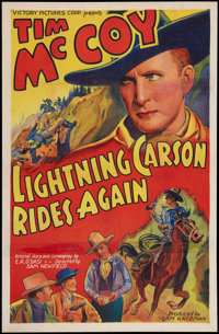 "Lightning Carson Rides Again (Victory, 1938). One Sheet (27"" X 41""). Western"