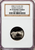 Proof Statehood Quarters, 2006-S 25C North Dakota Clad PR70 Ultra Cameo NGC. NGC Census: (0).PCGS Population (168). Numismedia Wsl. Price for probl...