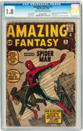 Silver Age (1956-1969):Superhero, Amazing Fantasy #15 (Marvel, 1962) CGC GD- 1.8 Light tan tooff-white pages....