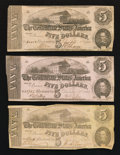 Confederate Notes:1862 Issues, T53 $5 1862 Three Examples.. ... (Total: 3 notes)