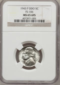 Jefferson Nickels, 1943-P 5C Doubled Die Obverse MS65 Six Full Steps NGC. FS-106....