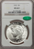 Peace Dollars, 1923 $1 MS66+ NGC. CAC....