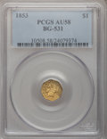 California Fractional Gold, 1853 $1 Liberty Octagonal 1 Dollar, BG-531, R.4, AU58 PCGS....